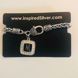 "Jewelry - Inspired Silver Monogrammed ""M"" Bracelet"